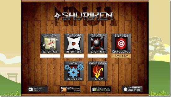 Shuriken Ninja - main screen