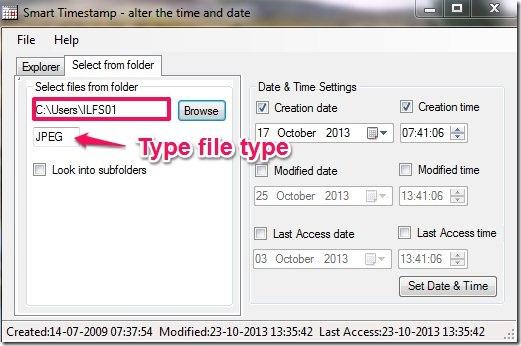 SmartTimeStamp-modify file time-second tab menu