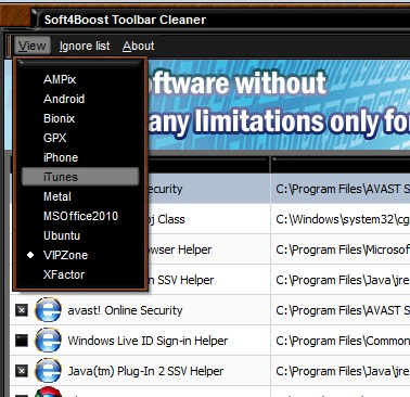 Soft4Boost Toolbar Cleaner- select a theme