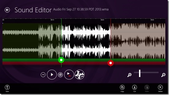 Sound Editor - action flyout
