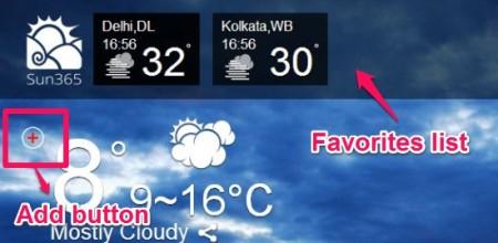 Sun365-online weather app-favorites list