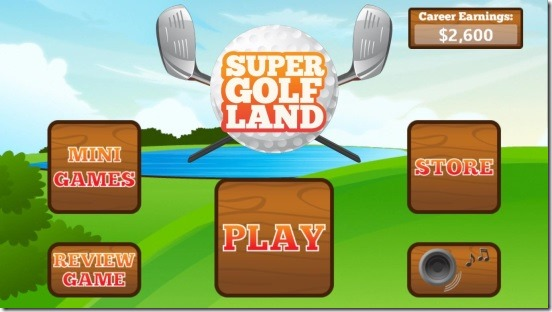 Super Golf Land - main screen
