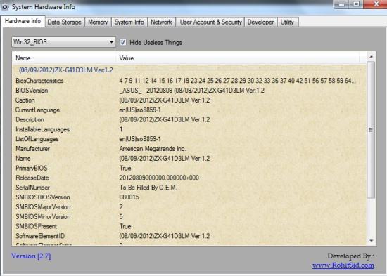 System Hardware Info- interface