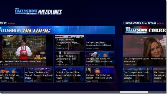 The Daily Show Headlines - main screen