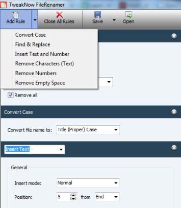 TweakNow FileRenamer- add rules