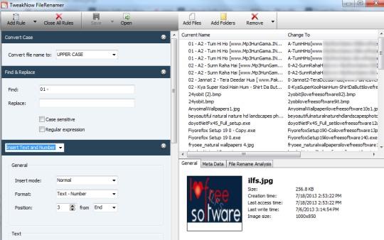 TweakNow FileRenamer- interface