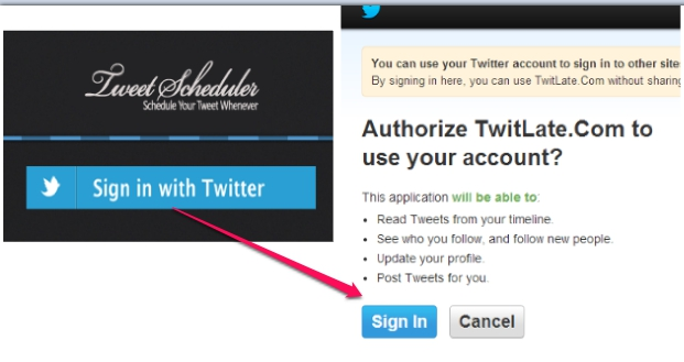 TwitLate.com- authorize Twitlate to your Twitter account