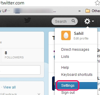Twitter two step authentication- access settings