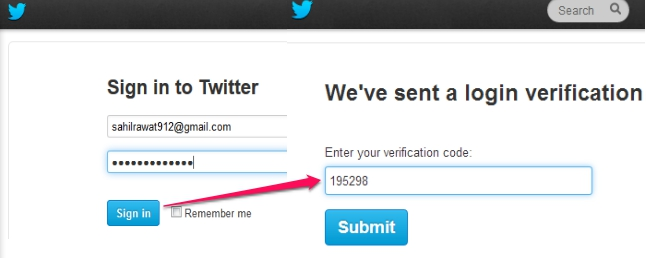 Twitter two step authentication