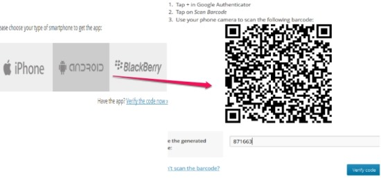 Two Step Authentication in WordPress- select the smartphone and scan barcode