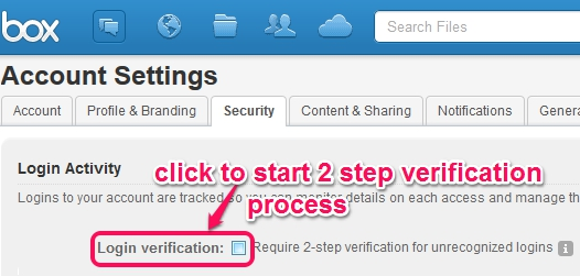 Two step authentication in Box- access security tab