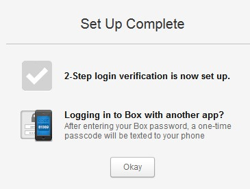 Two step authentication in Box- setup completed