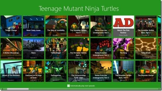 Watch Teenage Mutant Ninja Turtles - main screen