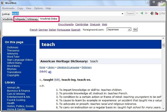 WordWeb-free dictionary-web refrence tab