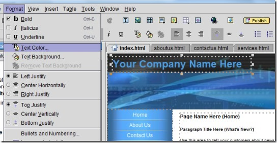 Yahoo! SiteBuilder- menu bar