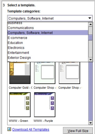 Yahoo! SiteBuilder- select a category and template