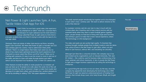 StartupNews - Windows 8 News App - Article View
