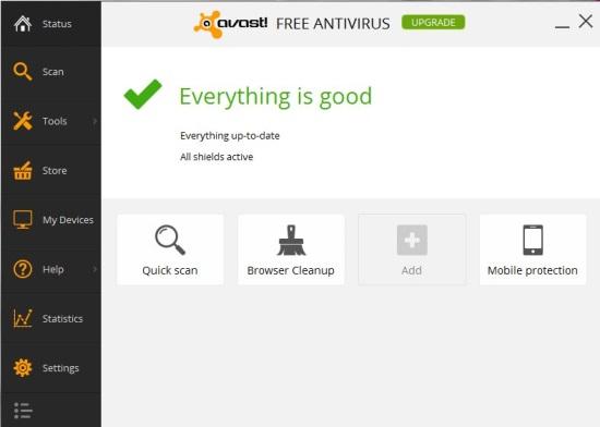 avast! Free Antivirus - Interface