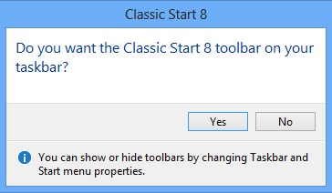 classicstart8 add to taskbar