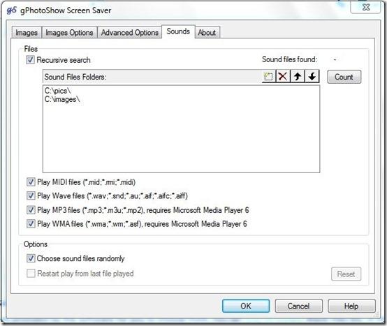 gPhotoshow-slideshow screensaver-sounds tab