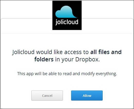 JoliDrive - Granting Access