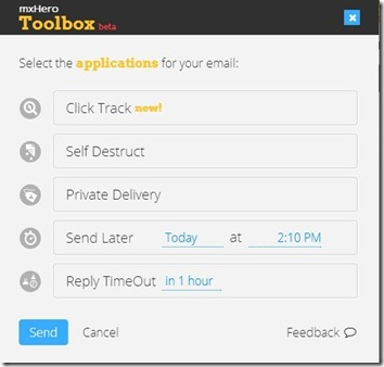mxHero Toolbox-schedule email-features