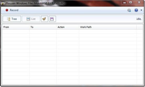 phrozen Windows File Monitor- interface