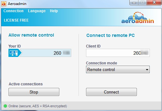 Aeroadmin- enter your and client PC ID