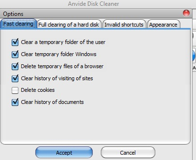 Anvide Disk Cleaner- Options