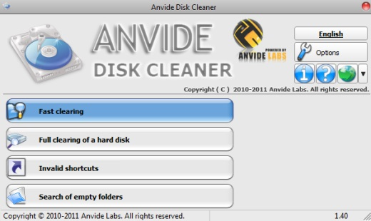Anvide Disk Cleaner- interface