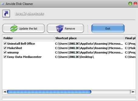 Anvide Disk Cleaner- remove invalid shortcuts
