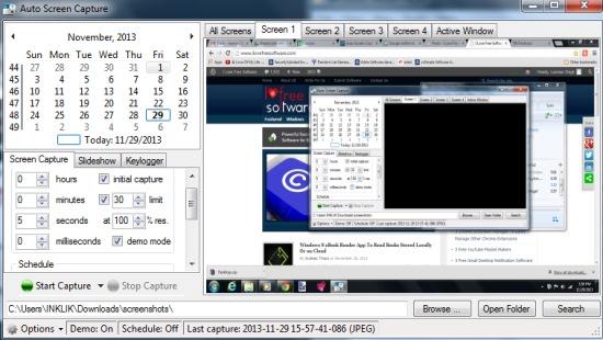 Auto Screen Capture- interface