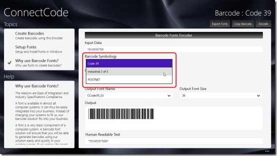 Barcode Software - changing font