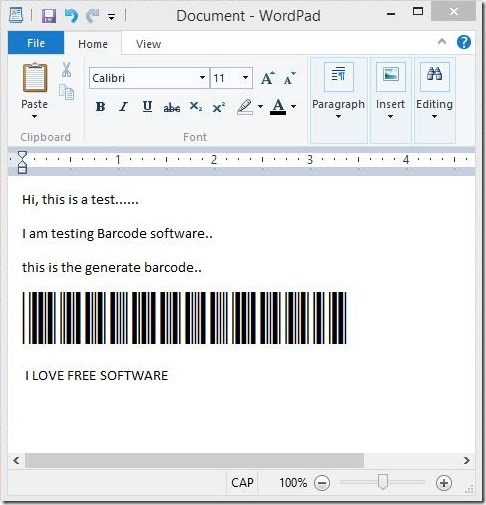 Barcode Software - using barcode in WordPad