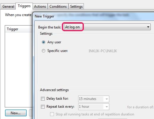 Begin the task- at log on