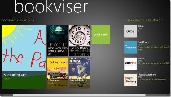 Bookviser - home screen