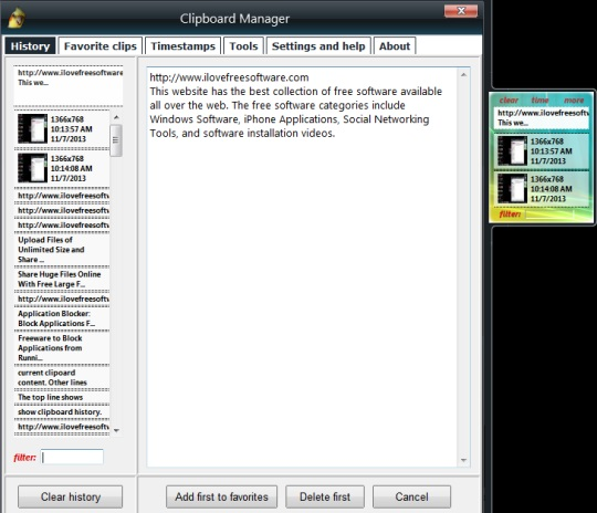 Clipboard Manager- store text contents and images