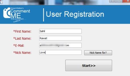 CommentME- free user registration