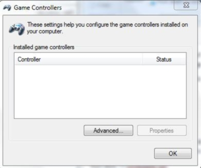 Control Panel Command - Game Controllers