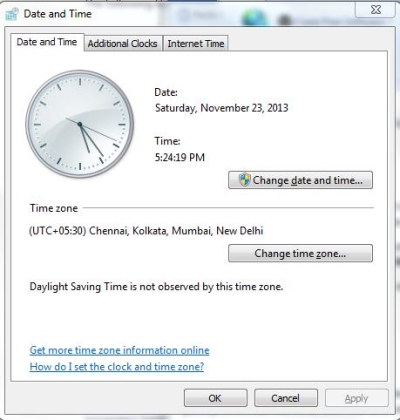 Control Panel Command - TimeDate