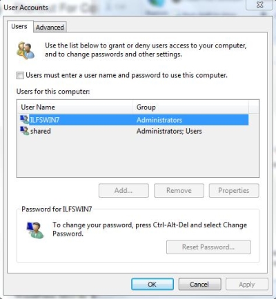 Control Panel Command - User Accounts
