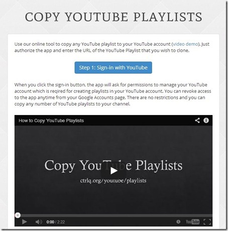 Copy YouTube Playlists-hom e page