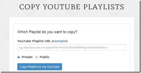 Copy YouTube Playlists-paste link