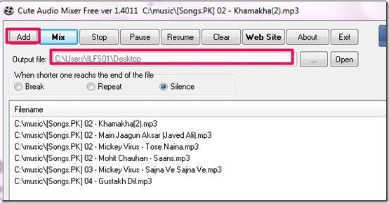 Cute Audio Mixer Free Version-audio mixer-add files