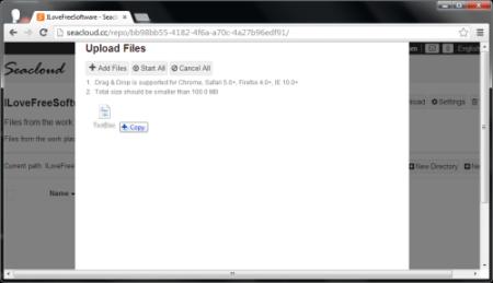 SeaCloud - Cloud Storage - upload files