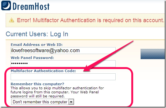 Dreamhost Multifactor Authentication