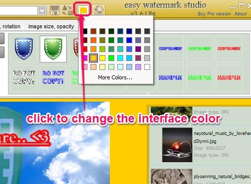 Easy Watermark Studio Lite- change color of interface