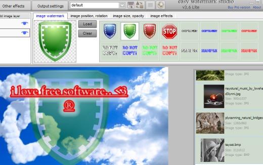 Easy Watermark Studio Lite- options for image watermark