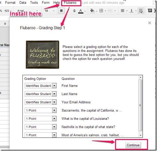 Flubaroo-online grading tool-grading menu