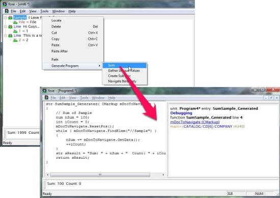 Foxe WYSIWYG XML Editor - Programming Mode